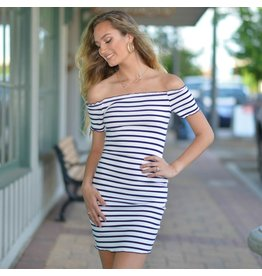 Dresses 22 Nautical Stripe Off Shoulder Dress