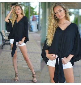 Tops 66 Trendy Tied Up Black Top