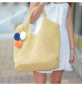 Accessories 10 Tan Slouchy Straw Bag With Pom Pom