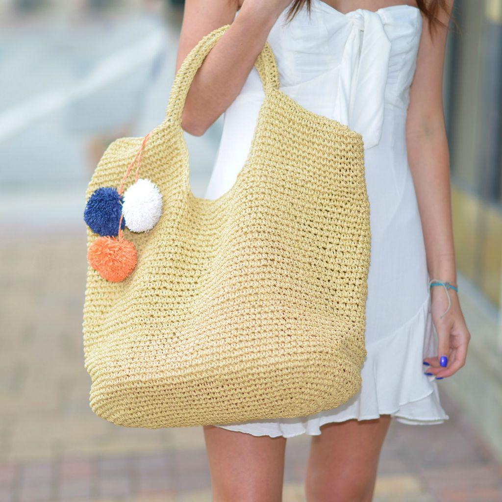Accessories 10 Tan Slouchy Straw Bag With Pom Pom