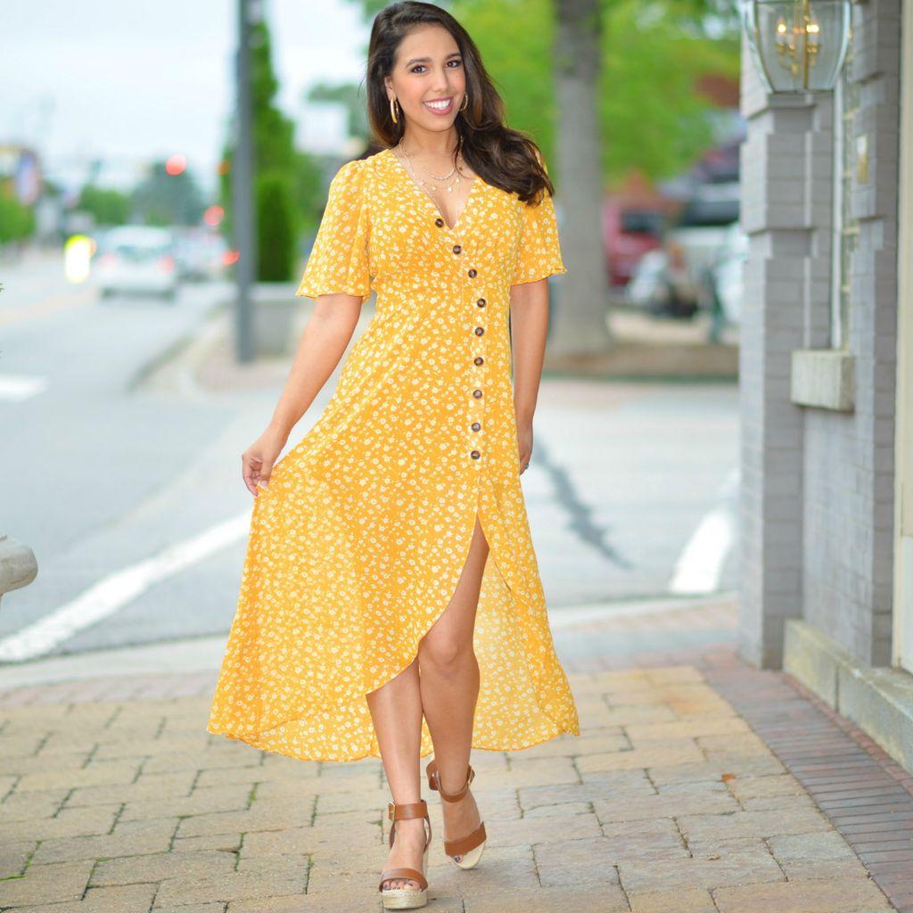 Dresses 22 Honey Me Yellow Floral Dress