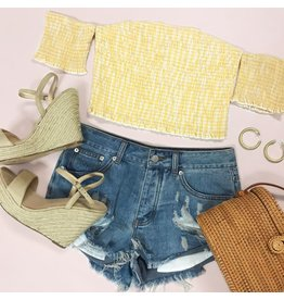 Tops 66 Yellow Gingham Off Shoulder Smocked Top