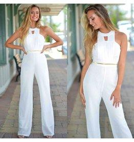 Jumpsuit Meet Me In Malibu White/Gold Jumpsuit