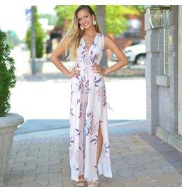 Jumpsuit Make Me Blush Pink Floral Wrap Jumpsuit