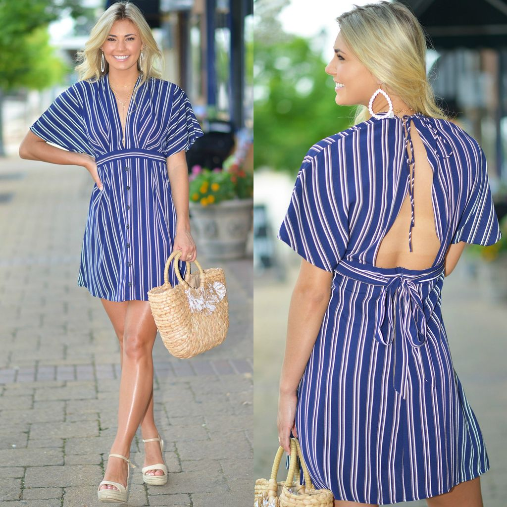 Dresses 22 All Summer Long Stripe Open Back Dress