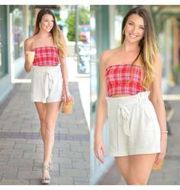 Tops 66 Red Plaid Smocked Top