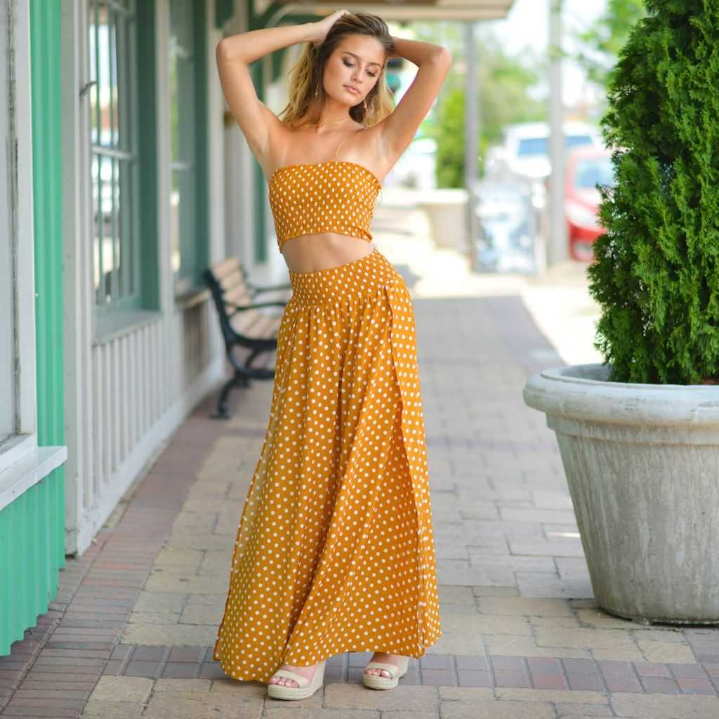 Skirts 62 Goldenrod Polka Dot Skirt