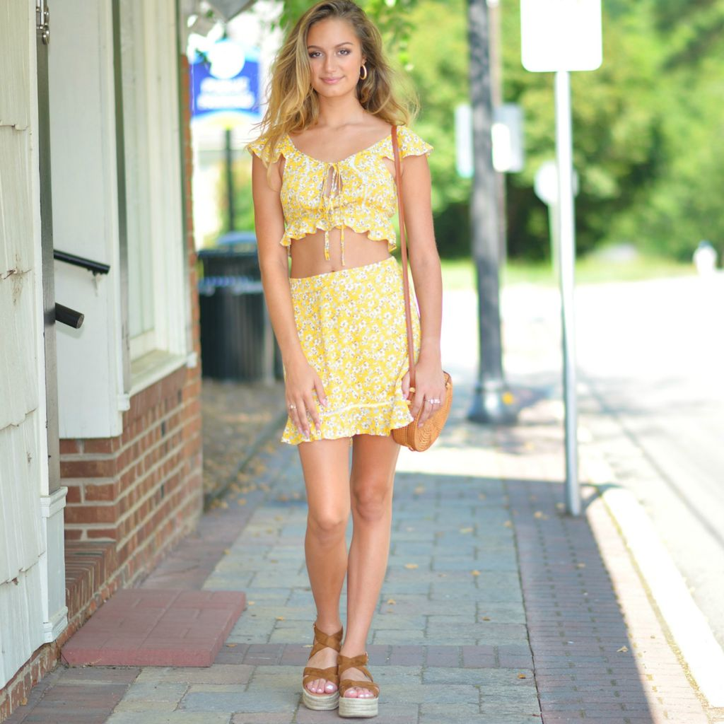 Skirts 62 Summer Florals Yellow Skirt