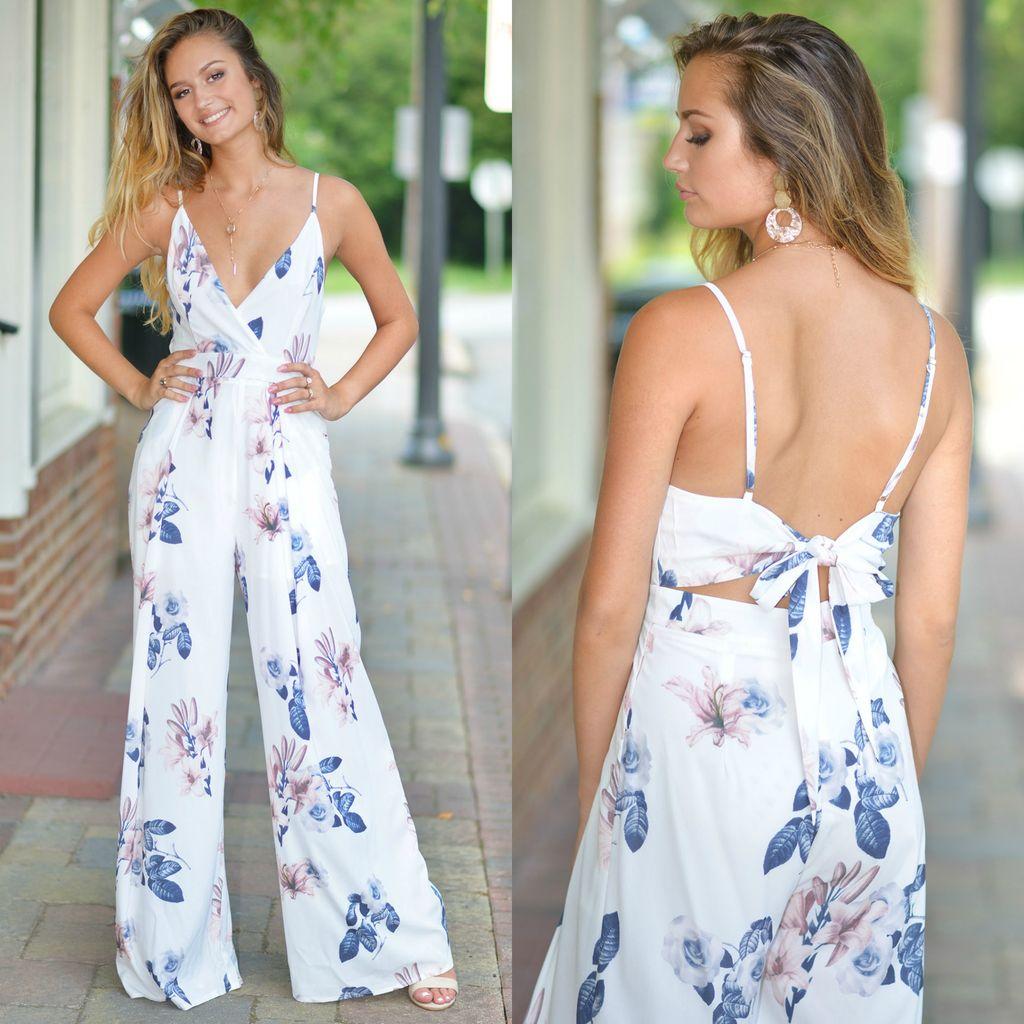 Jumpsuit Summer Soiree Floral Tie Back Jumpsuit