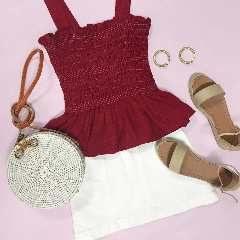 Tops 66 Happy Days Burgundy Smocked Top