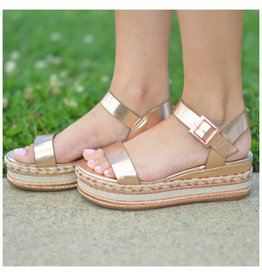 Shoes 54 Summer In The Sun Rose Gold Metallic Espadrilles