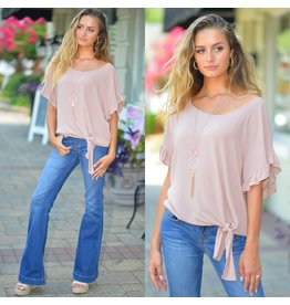 Tops 66 Ruffle & Tie Front Taupe Top
