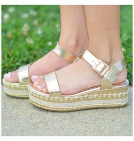 Shoes 54 Summer In The Sun Gold Metallic Espadrilles