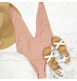 Swimsuits Deep V Blush Nude Swimsuit