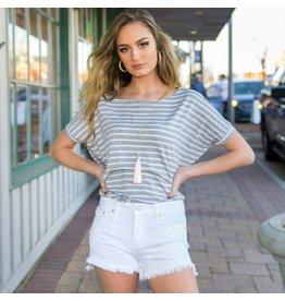 Shorts 58 Summer Fun White Frayed Button Shorts