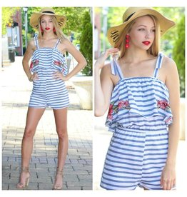 Rompers 48 Stripes For Summer & Embroidery Romper