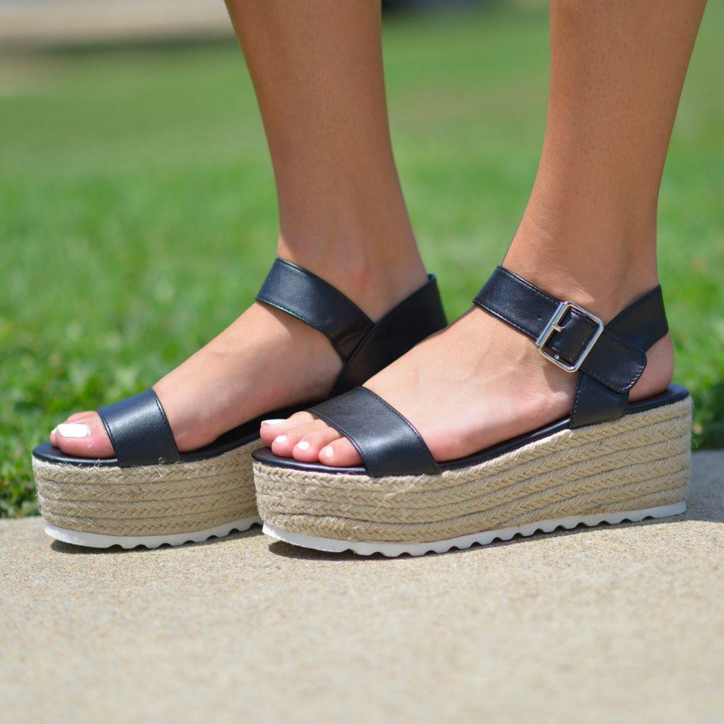 Shoes 54 Your Next Step Black Platform Espadrilles