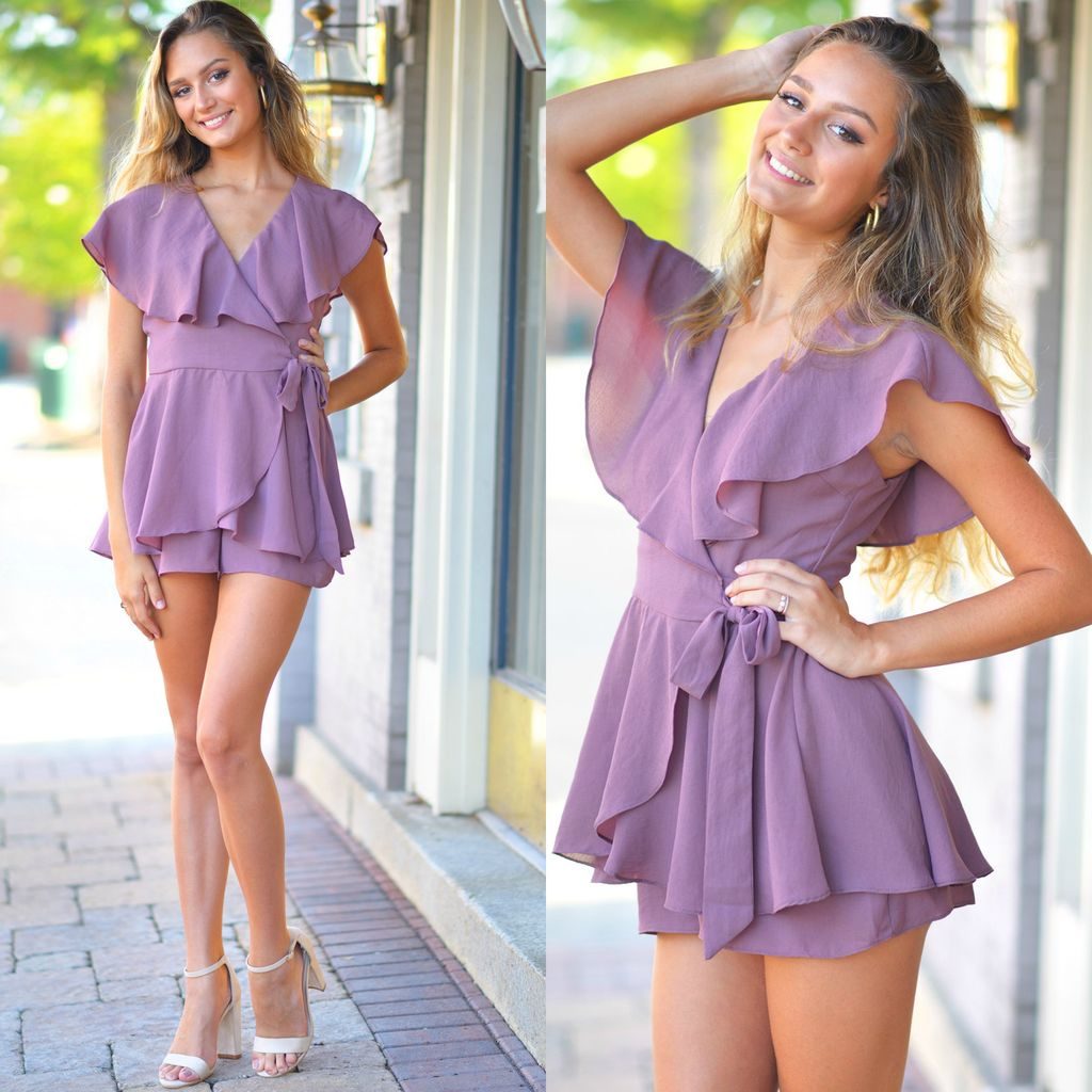 Rompers 48 Wrap Up Into Fall Dusty Purple Romper