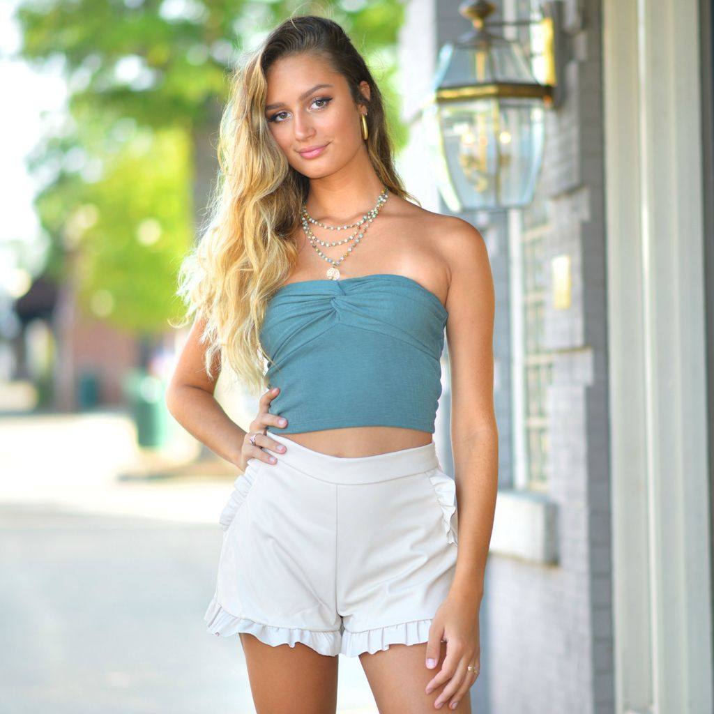 Tops 66 Twisty Knotted Sage Top