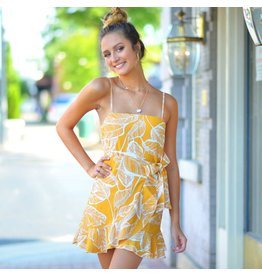 Dresses 22 Wrap It Up Fall Printed Mustard Dress