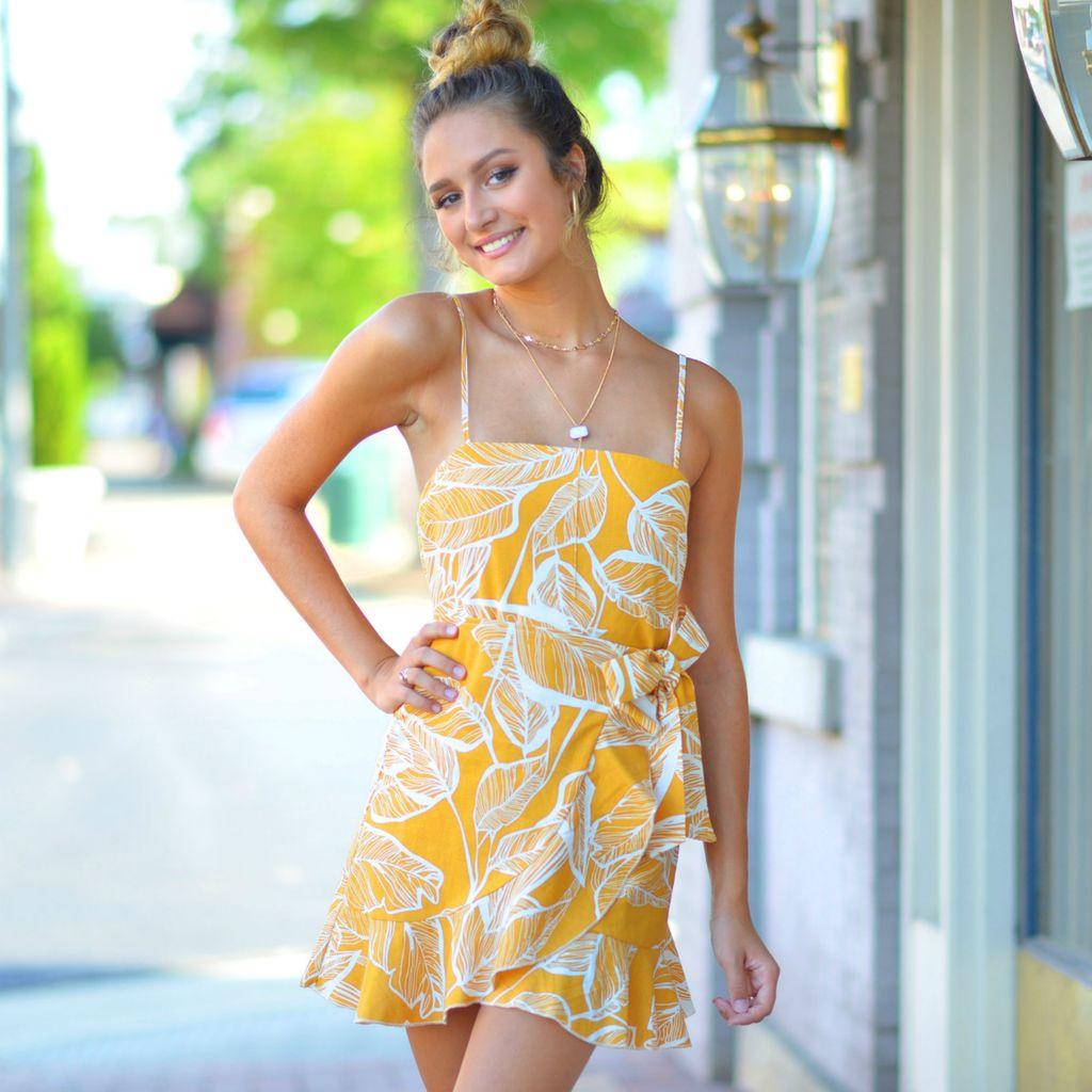 Dresses 22 Wrap It Up Fall Printed Mustard Dress