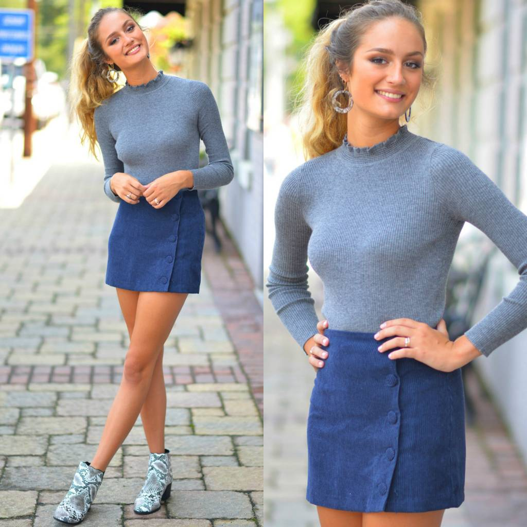 Skirts 62 Cute As A Button Corduroy Navy Skirt