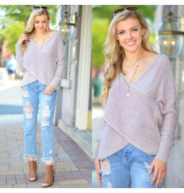 Tops 66 Cross Over Front Detail Rose Sweater