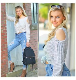 Tops 66 Cold Shoulder Stripe & Tie Shoulder Top
