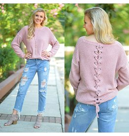Tops 66 Lace Up Into Fall Chenille Sweater