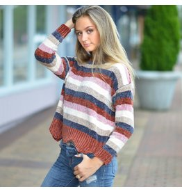 Tops 66 Unforgettable Fall Stripes and Scallop Bottom Chenille Sweater