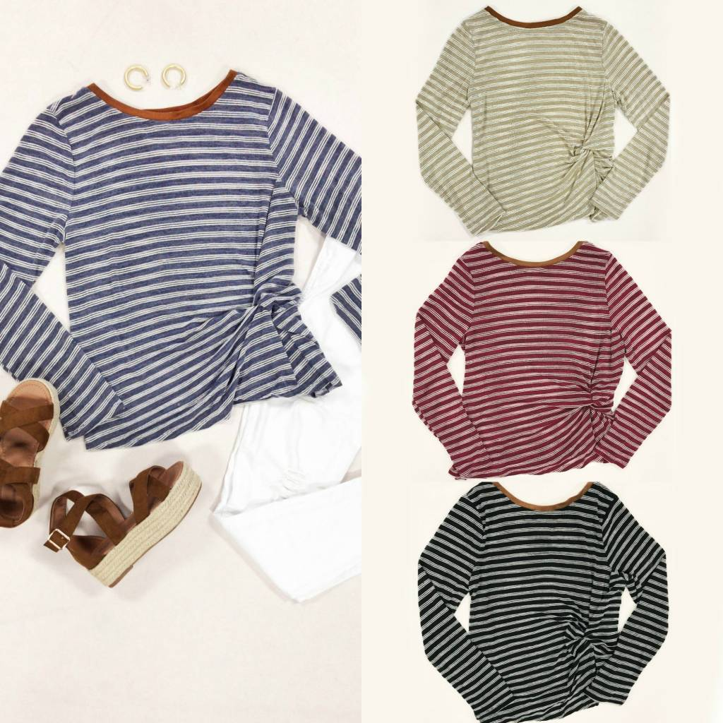 Tops 66 Fall Remedy Stripe Knot Front Top