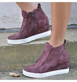 Shoes 54 Serita Suede Plum Wedge Sneaker
