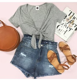 Shorts 58 High Waisted Paper Bag Denim Shorts