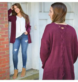 Tops 66 Fall In Love Burgundy Cardigan