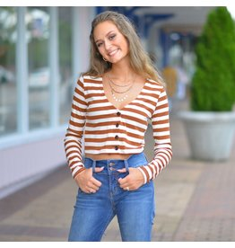 Tops 66 Cool Girl Stripe Button Front Top