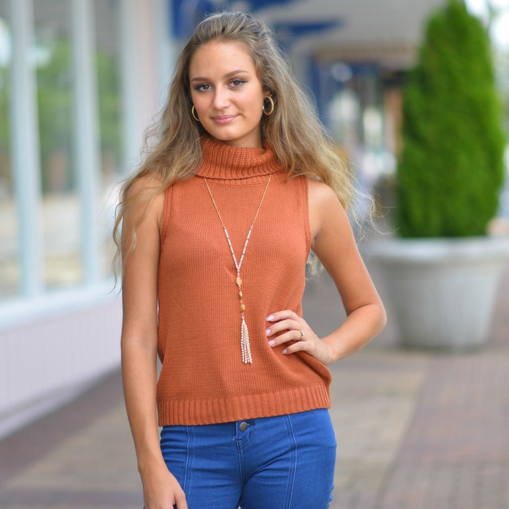 Tops 66 Fall Back Spice Sleeveless Cowl Neck Sweater