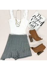 Shorts 58 Ruffle & Plaid Grey Party Skort