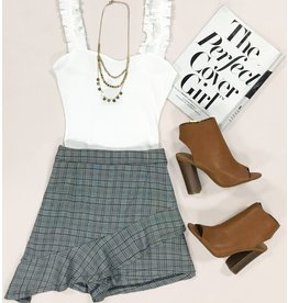 Shorts 58 Ruffle & Plaid Grey Party Skort