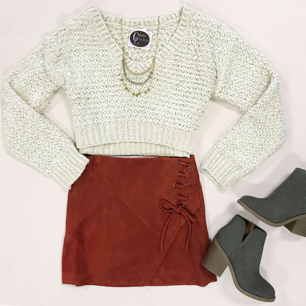 Skirts 62 Lace Up Rust Suede Skirt