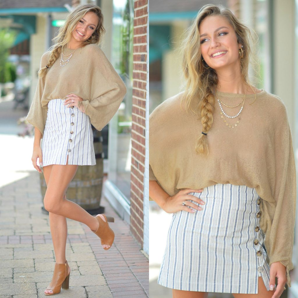 Skirts 62 Falling For Stripes Button Front Skirt