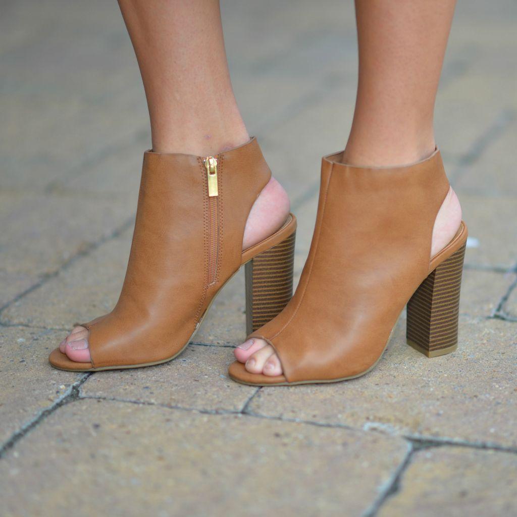 Shoes 54 Step By Step Tan Block Heel