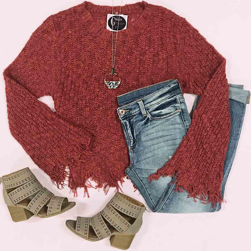 Tops 66 Fall Love Rust Sweater