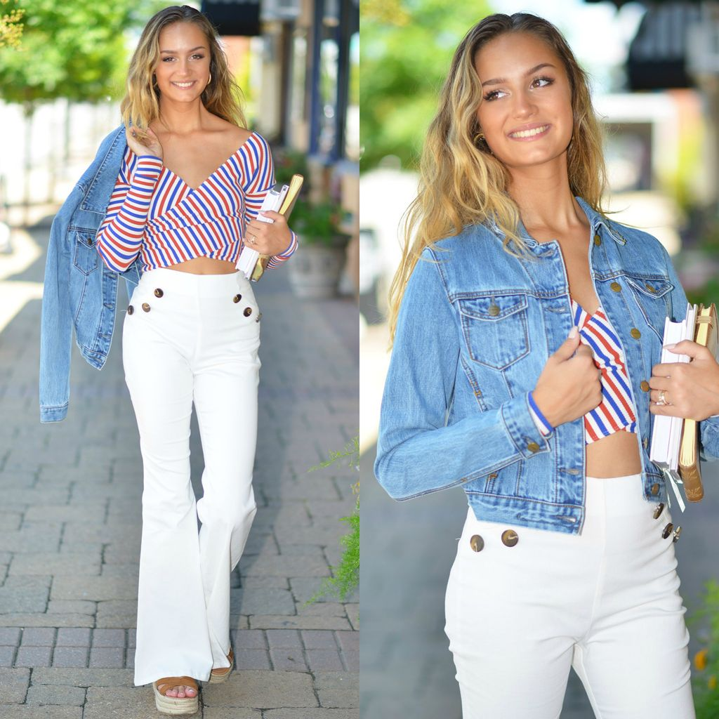 Pants 46 High Waisted Flare Button Up White Denim