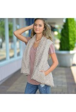 Tops 66 Fuzzy and Fun Fall Taupe Vest