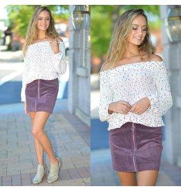 Skirts 62 Riley Remedy Dusty Purple Corduroy Front Zipper Skirt