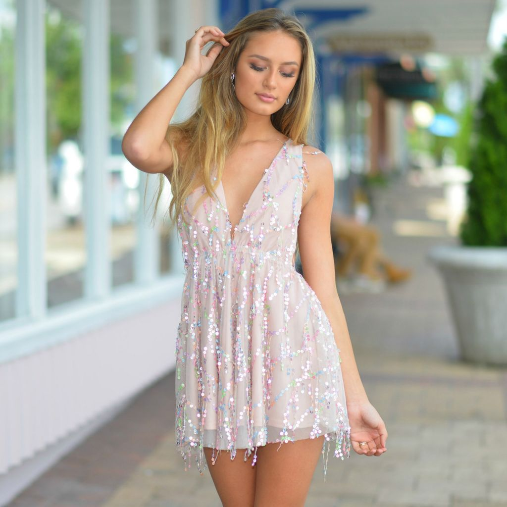 Dresses 22 Gleam and Dream Pastel Sequin Party Dress