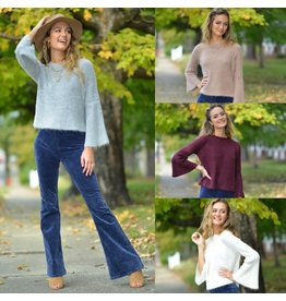 Tops 66 Fuzzy Bell Sleeve Sweater