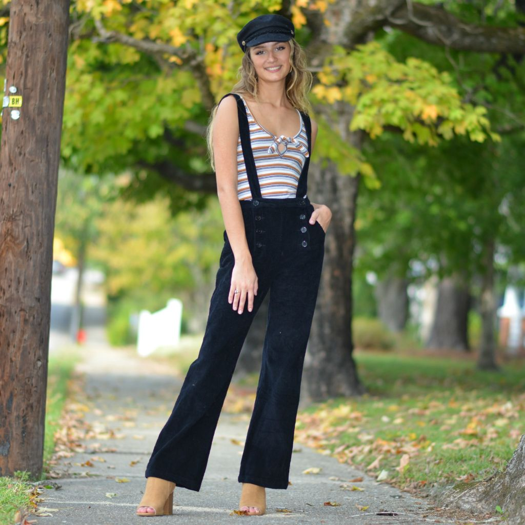 Jumpsuit Cents Of Style Black Corduroy Overalls