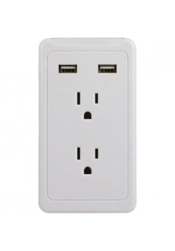 GE 2-Outlet Wall Tap with 2 USB Ports
