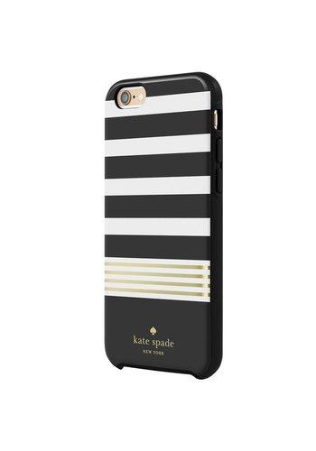 Kate Spade Kate Spade NY Hybrid Hardshell Case for iPhone 6 Plus/6S Plus (Stripe 2 Black/Cream/Gold Foil)